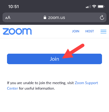 """Screenshot of website Zoom.us/Test with red arrow pointing to """"Join"""" button"""